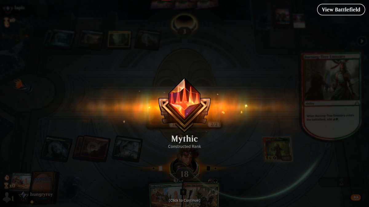 Managed to hit Mythic on #magicarena just in time before Kaldheim drops. Looking forward to drafts and hopefully a better standard