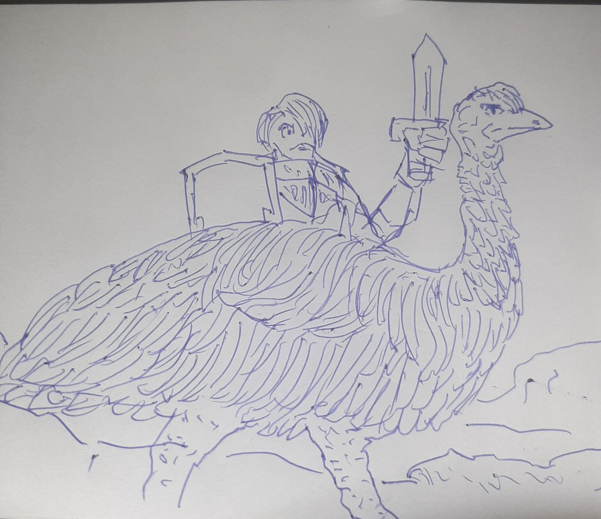 Emu Knight (IDK where the guy's lower body is) #sketchdaily 46/365