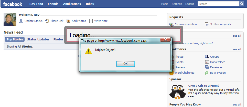 Am I the only one getting these random JavaScript alerts (obviously debugging messages!) on the new Facebook today?