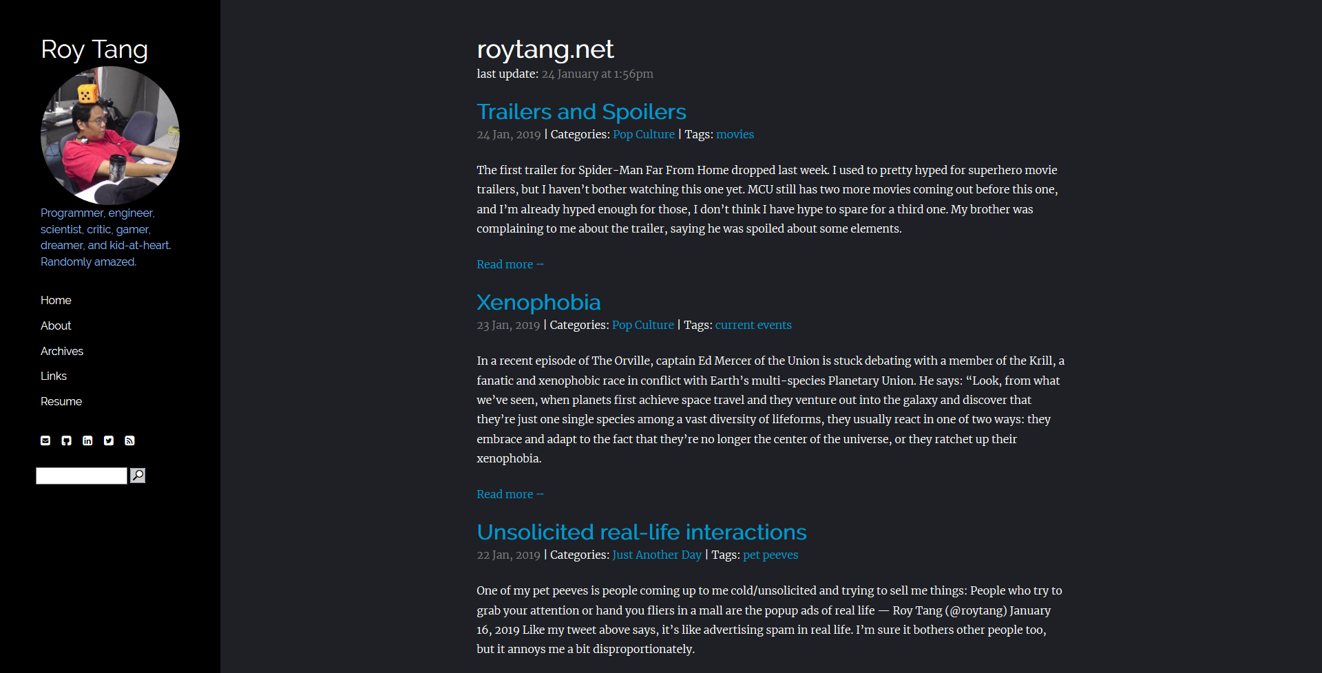 """I always wish I had kept screenshots of what my blog looked like back during each of the myriad theme changes I've done over the years, as a kind of timeline of how my website aesthetic has evolved (or gotten worse, whatever). I recently found the stylesheets and such for my old django-powered blog from circa 2008-2009, and recently there's been this """"10-year challenge"""" meme where people show how they've changed over the past 10 years. Tt felt like a pefect opportunity to reconstruct that old version and also capture an image of the current version for posterity's sake. I"""