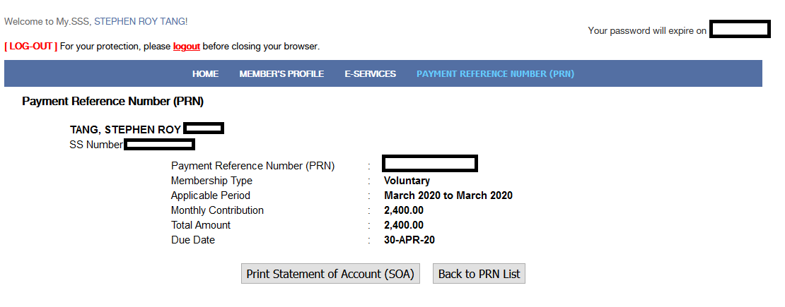 Since I stopped being a full-time employee at the end of 2015, I've missed around four years of monthly SSS payments. This isn't really that big a deal, since I've already paid more than 10 years of premiums, I'm already guaranteed to get a pension from SSS when I reach retirement age. However, this past January I decided to resume making SSS premium payments on a voluntary basis. I had to research a bit and ask some friends about the whole process, so I thought I'd document it here both for my own recollection and in case someone finds it