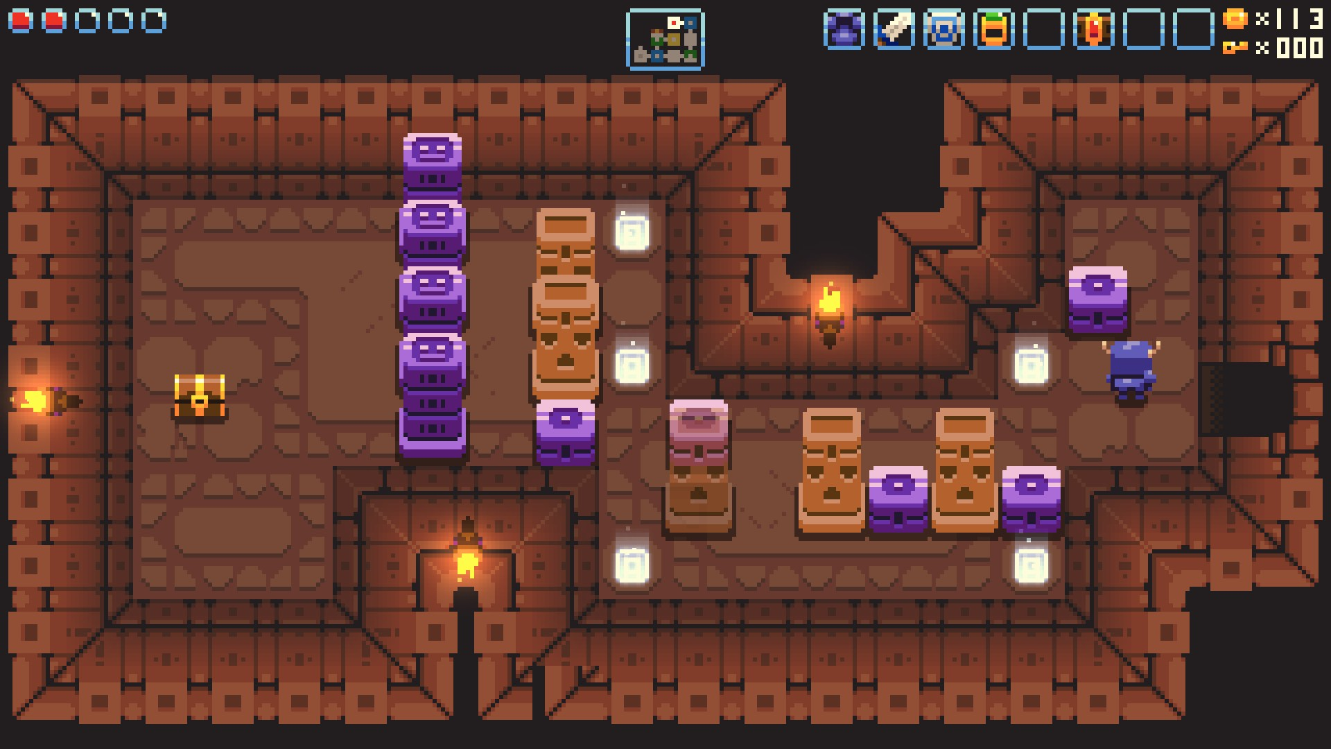 This particular block puzzle gave me some trouble. You have to push the blocks onto the lighted tiles.