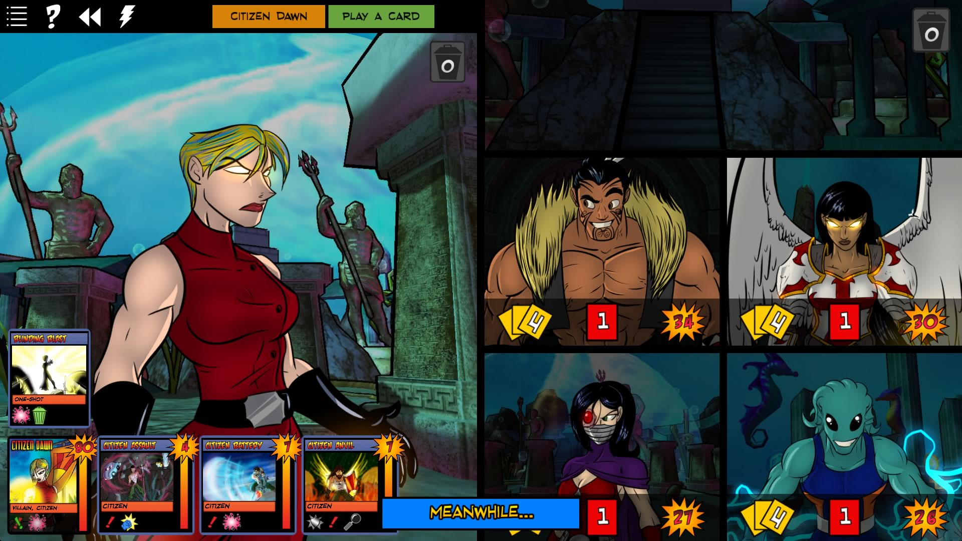 Over the past couple of years, I've been regularly playing digital boardgames online on Steam with one of my friend groups, I thought I'd do reviews of them. The first one is Sentinels of the Multiverse. We've played the IRL boardgame of it before during one of our sporadic in-person meetups. If you're not familiar, it's a comics-themed coop game where up to 4 people play as a group of heroes to beat a villain (basically comic book shenanigans). There is a large variety of heroes available to play, each with unique abilities and play styles. Some of them are